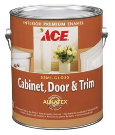Ace Hardware Cabinet, Door and Trim Paint.  This is the BEST cabinet paint ever.  Give it a try!