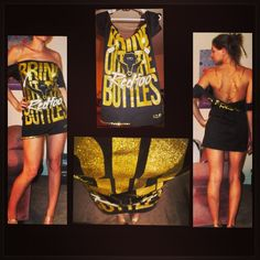 Basic Redfoo tshirt transformed into sexy backless dress. DIY chain studs glitter