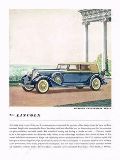 1934 BIG Vintage Lincoln Dietrich Convertible Sedan Car Automobile Art Print Ad