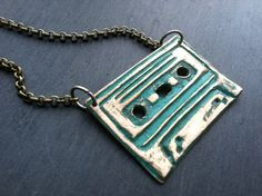 Teal Cassette Tape Necklace