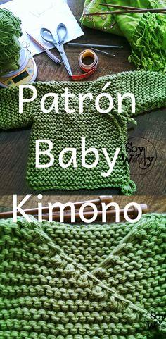 Esta chaqueta de bebé de punto (para recién nacido) se teje prácticamente en una sola pieza, para evitarnos costuras y remates adicionales #kimono #bebé #dos agujas #tricot #patrón #patrones en español #soywoolly #paso a paso