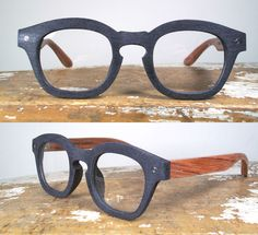 Handmade Black Acetate & Wood,  'Johnny Depp' Eyeglass Frames.