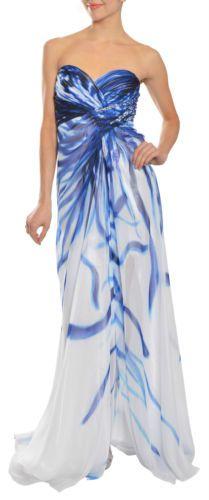 LA FEMME Flowing Tie Dyed Strapless Chiffon Rhinestone Gown Dress 4 NEW