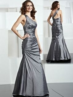 2014 Style Trumpet / Mermaid One Shoulder Ruffles Sleeveless Ankle-length Taffeta Mother of the Bride Dresses