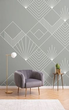 This bespoke Gray Lines and Squares Art Deco Wallpaper is a stylish piece created by our innovative in-house design team, inspired by the concept of a contempor