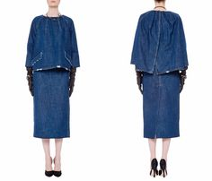 Miu Miu 2013 Spring Summer Made in Denim Picks - Womens Catwalk Runway Pieces - Denim Tunic Capelet Top & Jean Coats - Made in Denim Finds #MadeInDenim #DenimFinds: Accessories, Headgear, Footwear, Shoes, Bags, Toys and Products Made in Denim, Quirky & Cool Finds, Denim Outerwear (coats, parkas, capes, jackets, vests and more)