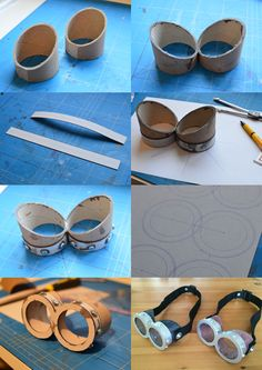 How to make minion goggles / glasses! This is what you need: - cardboard or pvc pipe - cardboard (strip) - 16 m4 bolts, cutted - superglue - a nice strap - aerosol paint silver - transparant paper for the glasses  good luck!