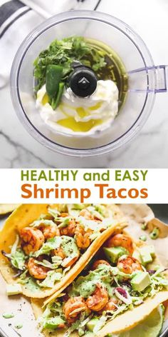 Healthy and easy Shrimp Tacos made with marinated sautéed shrimp a simple cabbage slaw and topped with a delicious creamy cilantro shrimp taco sauce. Ready in 20 minutes! Fish Recipes, Seafood Recipes, Mexican Food Recipes, Healthy Dinner Recipes, Chicken Recipes, Cooking Recipes, Healthy Shrimp Recipes, Air Fryer Dinner Recipes, Healthy Cooking