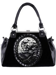 Restyle Gothic Vamp Flying Bats Black Velvet Cameo Kiss Lock Handbag 5289ebb549659