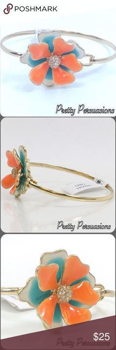 NWT Floral Cluster Rhinestone Statement Bracelet NWT Multicolored Floral Cluster Rhinestone Statement Bracelet • SAMPLE SALE✨  ✨ We have select single item necklaces & bracelets available in our first ever Jewelry Sample Sale. There's only 1 of each piece available! Don't miss out!! ✨  MSRP $39.00  Features  • multicolored flower petals • gold toned bracelet • clustered rhinestone centered flower • hook closure on side   Made in the USA   Bundle discounts available  No pp or trades  Item #…