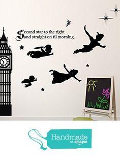 Disney Peter Pan Wall Decal Tinkerbell, Wendy, John, and Michael Flying to Neverland Second Star To The Right Vinyl Sticker from CustomVinylDecor http://www.amazon.com/dp/B01AL34WZO/ref=hnd_sw_r_pi_dp_Tkydxb1ZQMYDB #handmadeatamazon