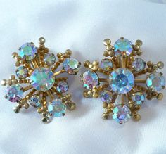Awesome Earrings to go from Summer into Fall! Vintage AB Rhinestone Earrings Tiered Gold Clip-Ons by MarlosMarvelousFinds