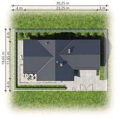 Parterowy dom na działkę z wjazdem od południa - Studio Atrium Minimalist House Design, Minimalist Home, Atrium, House Plans, Construction, Studio, Building, Farms, Glass Ceiling