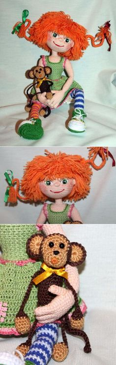 Pippy Longstocking made by a Russian lady, again no pattern -- have to figure this one out.