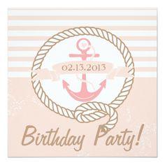 Pink Anchor Stripes Nautical Birthday Invitation