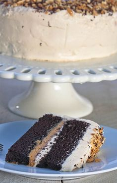 Milk chocolate cake with peanut butter filling and vanilla peanut butter frosting.