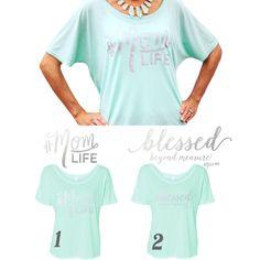 HOT DEAL! You Choose! Option 1: #MOMLIFE or Option #2 'Blessed Beyond Measure' #MOMLIFE Mint Tee