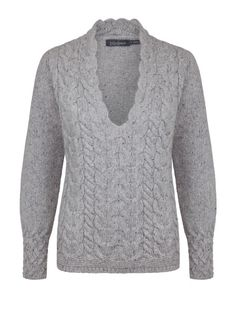 Ladies Wool Cashmere 'Horseshoe Cable V' - Light Grey, by Irelands Eye Knitwear Autumn Winter 2014/15.