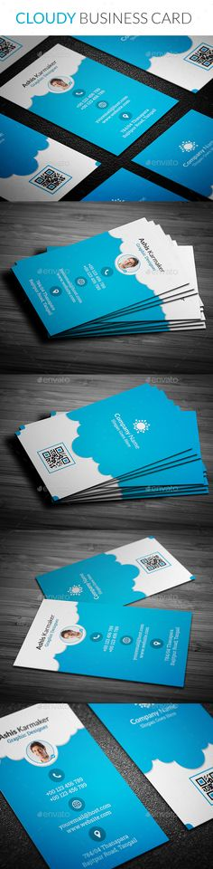 Cloudy Business Card — Photoshop PSD #print #vertical • Available here → https://graphicriver.net/item/cloudy-business-card/13753026?ref=pxcr