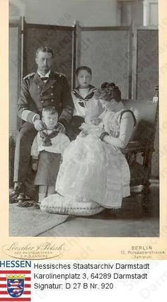 Prince Henry and Princess Irene of Prussia with their three sons, Waldemar, Sigismund and infant Heinrich, who would die at age 4 from complications due to hemophilia. His older brother Waldemar also suffered from hemophilia.