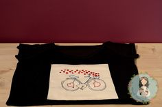 Unique love bicycle t-shirt hand embroidered  gift by MainileMamei