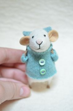 Little Traveler Mouse with recycled swaeter  by feltingdreams