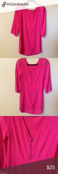 AEO Shift Dress Beautiful vibrant pink shift dress from American Eagle Outfitters! Features sleeves that cut off at the wrist and a deep V back complete with a zipper detail. Incredible quality and perfect for dressing up and dressing down! No damages. American Eagle Outfitters Dresses Long Sleeve
