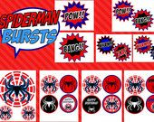 SPIDERMAN Party -BURSTS - Boy Birthday Party - Super Hero -Superheroes-Spiderman Printables-Spiderman Inspired- Boys Party- INSTANT Download