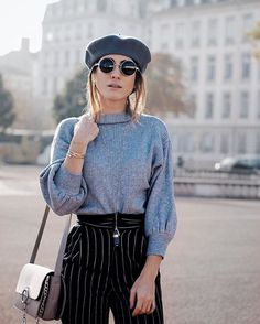 @blogdelucinda in our: Puff Sleeve Mock Neck Sweater (3 Color Options) Striped High-Waisted Chino Pants ---------- Tap the link in our profile to shop this look. #zaful #zafulgirl