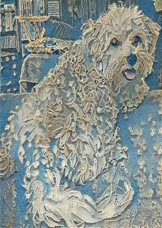 ACEO ATC Poppy Maltese Dog pup puppy blue lace art card animal art – gift idea for animal lovers – cheerful art for your home - Fabric Craft Dog Quilts, Animal Quilts, Baby Quilts, Art Carte, Lace Art, Textile Fiber Art, Fiber Art Quilts, Quilt Modernen, Malteser