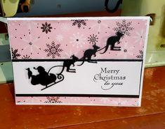Santa sleigh with kangaroos, Australian theme Christmas card using Impression Obsession dies. Australian Christmas Cards, Aussie Christmas, Christmas Night, Christmas Gifts, Christmas Ideas, Merry Christmas, Simple Christmas Cards, Xmas Cards, Handmade Christmas