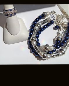 New Nautical - Vibrant Blue and White Freshwater Pearls along with our lovely STACKABLE Rings :))