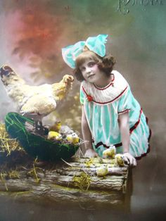 Antique Easter postcard - Little girl child chicken, nest wood, art deco dress…