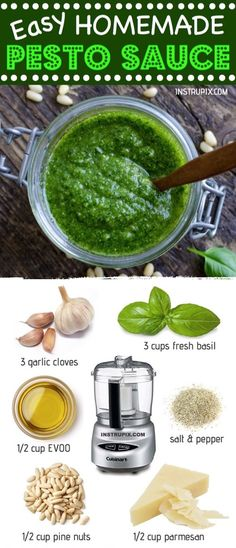 Easy Basil Pesto Recipe ✭✭✭✭✭ (freeze it in an ice cube tray!) This quick and easy homemade basil pesto recipe is great for chicken, pasta, sandwiches, spreads, dips and more! Simply blend all the simple ingredients together in a food processor. Healthy Sweet Snacks, Healthy Recipes, Cooking Recipes, Healthy Drinks, Free Recipes, Basil Pesto Sauce, Basil Pesto Recipes, Recipes With Pesto, Pesto Sauce For Pasta