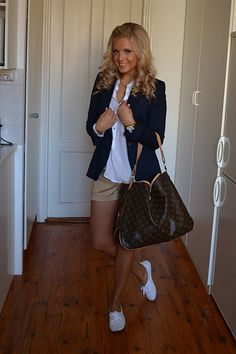 white button-up shirt, navy blue blazer, khaki shorts, and white keds. preppy, office, school, spring or fall outfit.