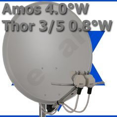 Israelische TV- Komplett- Satellitenanlage :: Multifeed 2-fach ausrichten satKomplettanlage Thor 0.8W und Amos 2-3