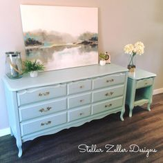 Refinished French provincial dresser/Hutch and side table done in Serenity Blue Rustoleum chalk paint www.facebook.com/stellarzellerdesigns