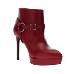 Saint Laurent Strapped Ankle Boot: Red-Hot Riot