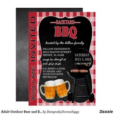 Adult Outdoor Beer and BBQ Invitation