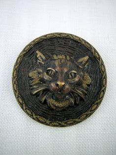 Cat Head BUTTON: Antique, Repousse Stamping on Brass, Twisted Rope Border, Fine Detailed Face, 3D Design, Medium Size, Kitten, Persian Cat