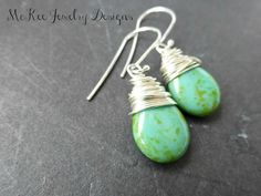 Pear Czech Picasso glass wire wrapped Argentium silver earrings.
