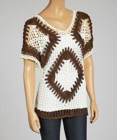 Look at this #zulilyfind! Brown & White Crochet V-Neck Top #zulilyfinds  *Was $70 Now $16.99