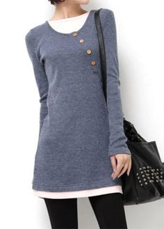 #ModLily - #unsigned Button Embellished Long Sleeve Patchwork Grey T Shirt - AdoreWe.com