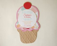 adorable ice cream sundae invitations   # childrens #Invitations #hootsie #carnival