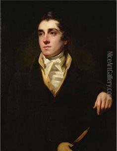 Portrait Of A Gentleman, Seated, Half-length, Wearing A Green Coat And Holding A Hat oil painting reproduction by Sir Henry Raeburn - NiceArtGallery.com