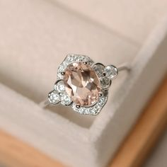 Oval morganite ring engagement sterling sivler by LuoJewelry