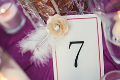 Table Numbers. Nate and Kelly's Wedding. Photography by Linden Leaf Photography.  https://www.facebook.com/pages/LindenLeaf-Photography/161539640035
