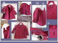 Manteau fille laine bouillie doublé 2ans : Mode Bébé par daniellemargotcouture