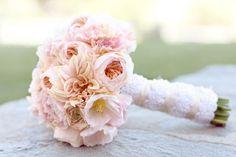 "blush ""cafe au lait"" dahlias, creamy hydrangea, pale pink ranunculus, white lisianthus and beige scabiosa pods"