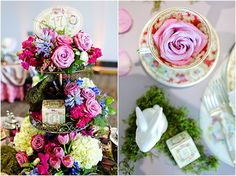 Vintage Baby Shower with teacups, English bunnies and personalized baby blocks.